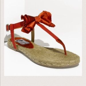 Lanvin Red Satin Thong Sandals 10 NWT
